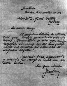 Carta de Perón a Castro