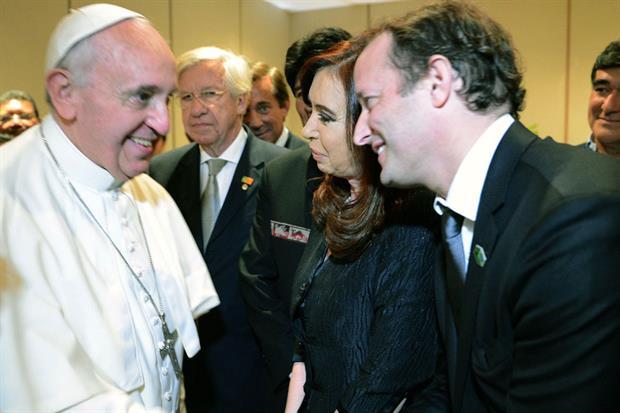El Papa con Insaurralde y Cristina Kirchner